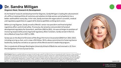 Sandi Milligan, Organon Head, Research & Development Bio (Document: Business Wire)