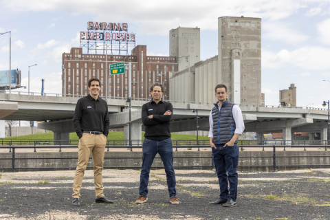 Poka's Co-Founders & CFO. Pictured from left are Antoine Bisson, CTO, Louis-Philippe Benoit, CFO, and Alexandre Leclerc, CEO (Photo: Business Wire)