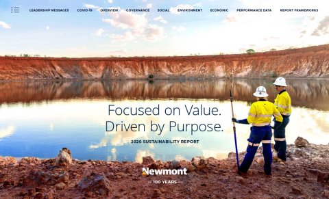 Newmont Corporation's 2020 Annual Sustainability Report, the 17th successive report outlining the Company's commitment to sustainable and responsible mining and leading ESG practices. (Graphic: Business Wire)