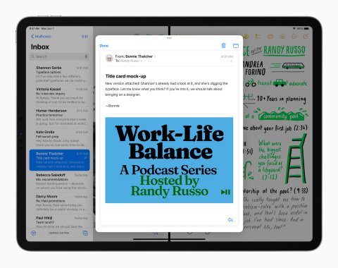 iPadOS 15 makes features like Split View and Slide Over easier to discover and use, and more powerful. (Photo: Business Wire)