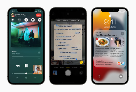 iOS 15 introduces SharePlay in FaceTime, Live Text using on-device intelligence, redesigned Notifications, and more. (Photo: Business Wire)