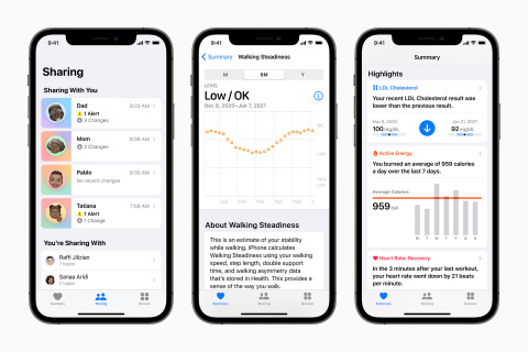 iOS 15 brings secure sharing and new insights for users within the Health app. (Photo: Business Wire)