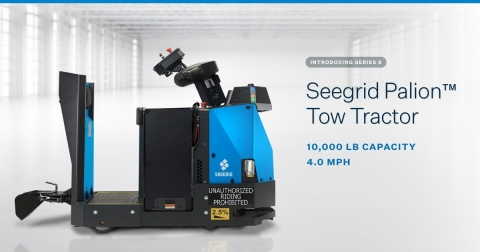 The new Seegrid Palion Tow Tractor Series 8 features enhanced understanding of its path and surroundings, an extended field of view, and a shorter clearance height while still managing a variety of cart train and payload tugging applications with a 10,000 pound maximum load capacity. (Graphic: Business Wire)