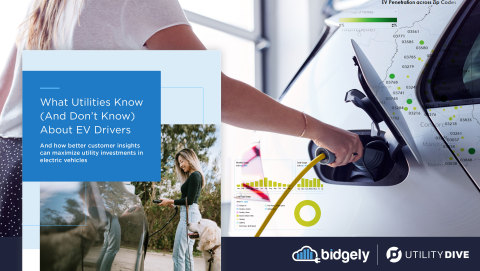 Bidgely and Utility Dive's new report, What Utilities Know (And Don't Know) About EV Drivers, underscores EV momentum underway at utilities in North America and the value of improved data analytics for EV planning and programs. (Graphic: Business Wire)