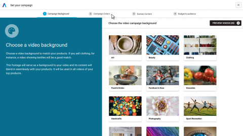 Shopify users can now create dynamic video ads in three simple steps: 1. Select the video theme. 2. Configure colors and text that match brand look and feel. 3. Define campaign settings, target audiences, and goals. (Photo: Business Wire)