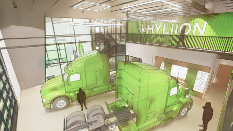 Rendering of Hyliion showroom that will be added in significant expansion of Austin headquarters (Photo: Business Wire)