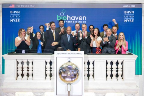 BJ Jones, Chief Commercial Officer, Migraine & Common Disease and Vlad Coric, M.D., Chief Executive Officer of Biohaven ring the opening bell at the New York Stock Exchange in support of the migraine community and Migraine and Headache Awareness Month and to celebrate the FDA approval of the first and only medicine to treat and prevent migraine. (Photo: NYSE)