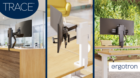 Ergotron's new TRACE™ Monitor Mount adapts to the ergonomic needs of employees to create agile workspaces that effortlessly shift between users and tasks to encourage healthy movement, productivity and a collaborative spirit. (Photo: Business Wire)