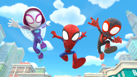 """""""Marvel's Spidey and his Amazing Friends"""" tells the story of Peter Parker, Miles Morales and Gwen Stacy, who together form Team Spidey and embark on heroic adventures to protect their community. (Photo credit: Marvel)"""