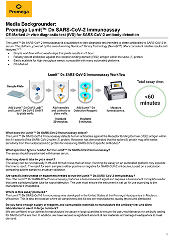 The bioluminescent Lumit™ Dx SARS-CoV-2 Immunoassay by Promega has received CE marking. The test enables simple, scalable antibody detection.