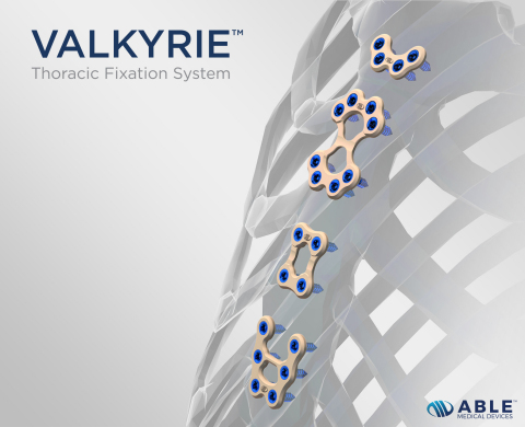Able Medical Devices announces the recent launch of its Valkyrie™ Thoracic Fixation System, the market's first single-use radiolucent plating system designed to span the osteotomy and close the sternum after open heart surgery. (Graphic: Business Wire)