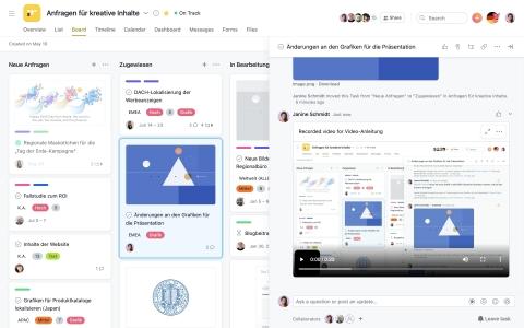 Im Rahmen einer Partnerschaft mit Vimeo, der weltweit führenden All-in-One-Videoplattform, bietet AsanaTeams jetzt die Möglichkeit der asynchronen Videokommunikation, die alle Vorteile der Live-Videokommunikation für die Zusammenarbeit nutzt und gleichzeitig weitere Meetings überflüssig macht. (Graphic: Business Wire)