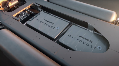 Microvast battery solution for Gaussin's full electric and hydrogen skateboard truck platform (Photo: Business Wire)