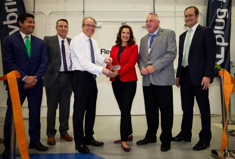 Governor Whitmer joins XL Fleet CEO Dimitri Kazarinoff, along with other senior executives and legislative leaders, to cut the ribbon at XL Fleet's new Fleet Electrification Technology Center on Wednesday, June 09, 2021 in Wixom, Mich. (Rick Osentoski/AP Images for XL Fleet)