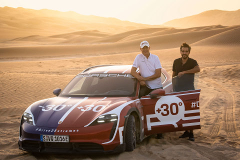 L-R Dr Manfred Braeunl, Chief Executive Officer, and Markus Peter, Marketing Director at Porsche Middle East and Africa FZE, on site at Liwa during the production of the hero film for Drive2Extremes (Photo: AETOSWire)