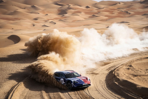 The world's first electric Cross Utility Vehicle, the Taycan Cross Turismo, on a race track in the desert of Liwa (UAE) (Photo: AETOSWire)