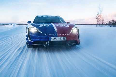 30° to +30° Porsche goes the extreme to kick off the launch for the new Taycan Cross Turismo (Photo: AETOSWire)
