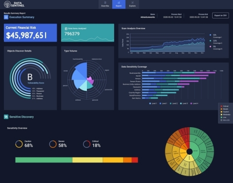 Data Sentinel sensitive data dashboard with data risk calculation. (Photo: Business Wire)