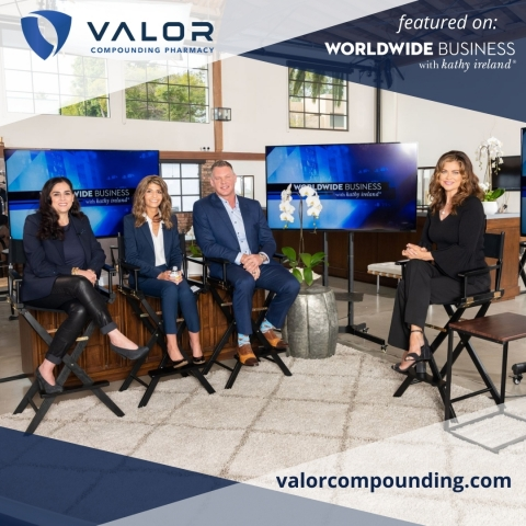 Valor Compounding Pharmacy's Rick Niemi, Christine Stephanos, and Sherine Khalil, seen here with Kathy Ireland, are to be featured this week on Worldwide Business with kathy ireland, airing on Bloomberg International. (Photo: Business Wire)