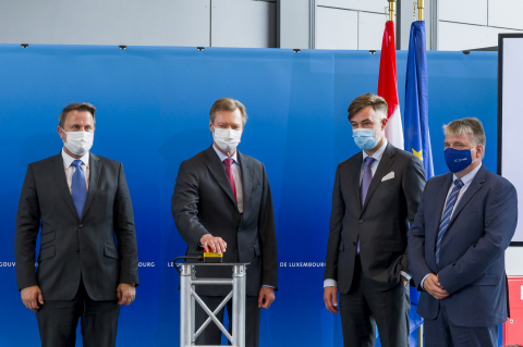 Minister of State Xavier Bettel; His Royal Highness Henri, Grand Duke of Luxembourg; Minister of the Economy Franz Fayot; EuroHPC Joint Undertaking Executive Director Anders Jensen (Photo: Business Wire)