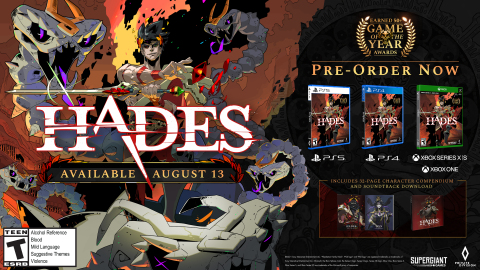 Private Division and Supergiant Games announced a partnership to release a physical edition of Hades for PlayStation®5, PlayStation®4, Xbox Series X and Xbox One consoles on August 13, 2021. Hades is a rogue-like dungeon crawler in which players battle their way through the treacherous Underworld of Greek myth to freedom. A winner of over 50 Game of the Year Awards and boasting impressive aggregate scores of 93 on Metacritic* and 94 OpenCritic**, Hades will soon be available for the first time on PlayStation 4, PlayStation 5, and Xbox Series X and Xbox One consoles. (Photo: Business Wire)