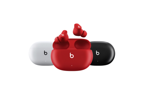 Beats Studio Buds are available to order starting today in three classic Beats colors, Black, White and Beats Red, for $149.99. (Photo: Business Wire)