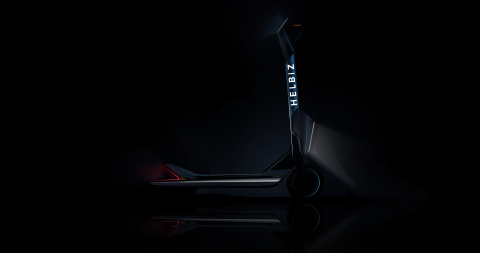 A Helbiz electric scooter designed in Italy by Pininfarina, produced in Italy by MT Distribution, and distributed on the sharing and retail market by Helbiz