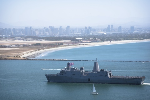USS San Diego returns to its namesake homeport with the San Diego cityscape in the background. U.S. Navy photo.