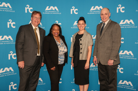 From Left to Right: Dr. Robert Lindquist, UAH VP, Office of Vice President of Research and Economic Development; LaFreeda Jordan, UAH Chief External Affairs Officer; Jenna O'Steen, Accenture Federal Services, Managing Director, Justice & Judiciary Sector Lead; Dr. Darren Dawson, UAH President (Photo: Business Wire)
