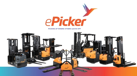 The ePicker fleet of stackers, pallet jacks, access vehicles and Lithium-Ion powered forklifts (Photo: Business Wire)