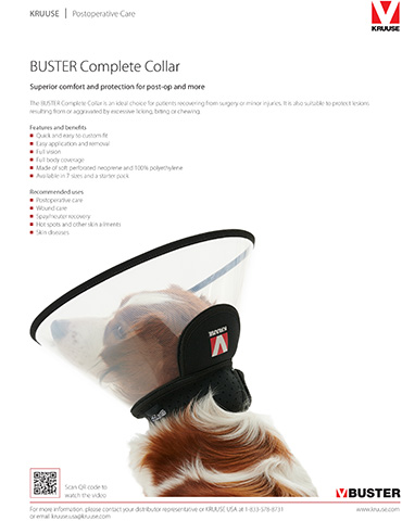 Get the NEW BUSTER Complete Collar - Superior comfort, superior protection. Not all recovery collars are the same! Support better patient compliance with a collar that is designed to be comfortable and effective. Quick and easy to custom fit with no cutting required. Perforated flexible neoprene neck band offers optimal comfort. Anatomic cut follows the curvature of the neck, allowing for comfort during sleep or rest. Smart design–transparency ensures visibility while an outer band absorbs sounds and prevents marking or scraping.