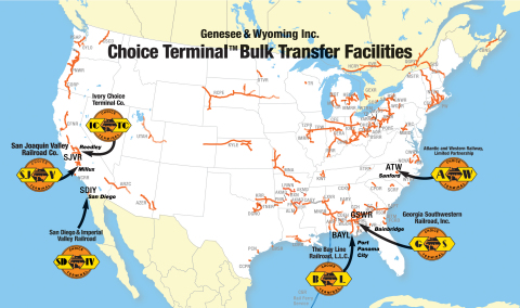 Genesee & Wyoming Inc. today announced its newly formed subsidiary, Ivory Choice Terminal Co. (ICTC), has acquired the facility formerly known as the Port of Ivory. ICTC is a subsidiary of Rail Link, G&W's contract rail and related services division, and will be operated as a G&W Choice Terminal™ bulk transfer facility. This is the sixth Choice Terminal facility opened in the past six years. Choice Terminals, located on G&W-owned railroads, offer a choice of Class I railroad connections and transload services for bulk materials, including but not limited to agricultural, industrial and petroleum products between railcars and trucks. (Graphic: Business Wire)