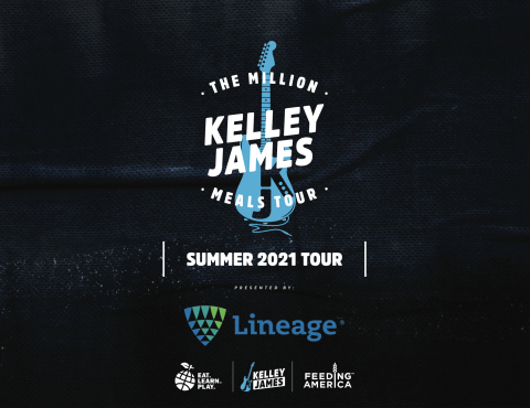 Lineage Logistics is sponsoring Kelley James' second Million Meals Tour as he continues his partnership with Steph and Ayesha Curry, through their Foundation Eat. Learn. Play., and Feeding America, through Meals UP, to donate at least one million meals by performing CDC compliant, private, acoustic shows for hosts, their families, and close friends. The tour route for 2021 includes shows at 53 locations across the United States. Visit millionmealstour.com for more information. (Graphic: Business Wire)