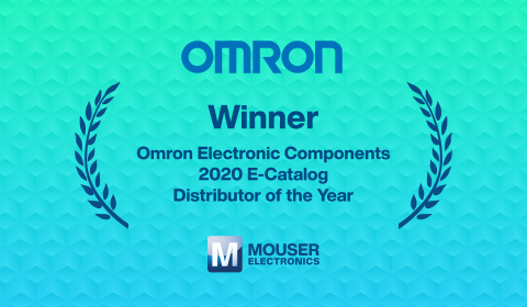 Mouser Electronics has been named 2020 E-Catalog Distributor of the Year by Omron Electronic Components, who cited Mouser's point-of-sale and point-of-purchase growth, customer count growth, and cooperative marketing engagement. (Graphic: Business Wire)