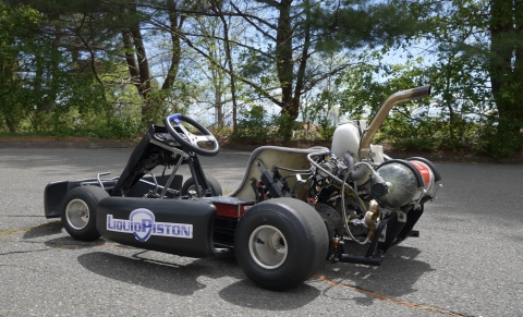 LiquidPiston replaced a traditional go-kart engine with its hybrid-electric X-Engine powered by hydrogen. (Photo: Business Wire)
