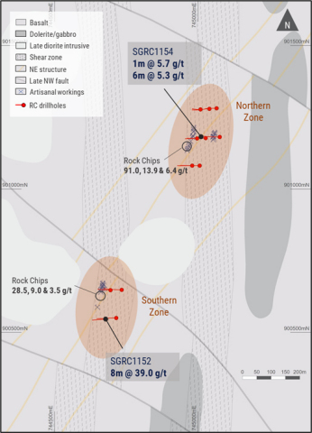 Figure 2. Gabbro North geology and scout drilling  (Graphic: Business Wire)