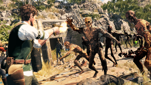 In the third-person adventure, Strange Brigade, blast through an army of mummified monstrosities while solving perilous puzzles in booby-trapped ruins. (Graphic: Business Wire)