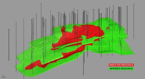 Figure 1 3D Model showing the indicated and inferred resource at Piskanja (Photo: Business Wire)