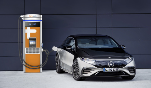 A Mercedes EQS all-electric luxury sedan charging on a ChargePoint station.