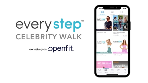 """Join guided walks with your favorite celebrities and trainers including Arnold Schwarzenegger, Xtend Barre's Andrea Rogers, and 'The Biggest Loser' Trainer Jen Widerstrom with Openfit's Every Step """"Celebrity Walks"""" program. (Graphic: Business Wire)"""