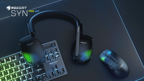 Get ROCCAT's all-new premium Syn Pro Air wireless 3D surround sound PC gaming headset for $149.99. Also shown, ROCCAT's Vulcan TKL PRO optical gaming keyboard, Kone Pro Air wireless PC gaming mouse, and Sense AIMO XXL mousepad. (Graphic: Business Wire)