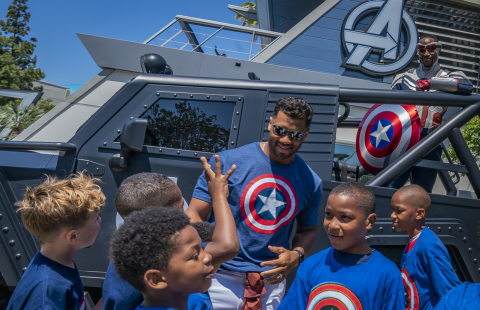 Russell Wilson celebrated being named one of 'Earth's Mightiest Athletes' with visit to Avengers Campus at Disney California Adventure Park in Anaheim, California, June 20, 2021, alongside Captain America and kids he's worked to support through his Why Not You Foundation. (Christian Thompson/Disneyland Resort)