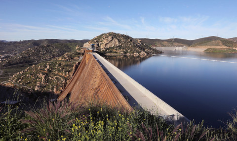 The San Diego County Water Authority said June 21, that the region is protected from drought impacts this summer, and through 2045, despite continued hot and dry conditions. Photo: San Vicente Reservoir/San Diego County Water Authority
