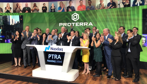 Proterra rang the closing bell at Nasdaq on June 16 to celebrate the company's public listing. (Photo: Business Wire)