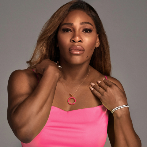 Serena Williams wearing Unstoppable Brilliance necklace from her latest drop benefitting Opportunity Fund. (Photo: Craig Cutler)