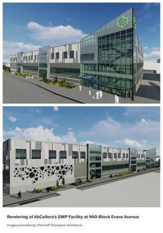 Rendering of AbCellera's GMP Facility at 900-Block Evans Avenue. Images provided by Chernoff Thompson Architects
