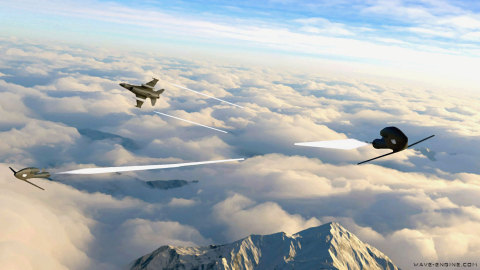 Artist's impression of Wave Engine Corp.'s Versatile Air-Launched Platform (VALP) launched from a fighter aircraft - www.wave-engine.com (Graphic: Business Wire)