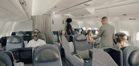 """Omni Air International has unveiled """"Omni Class,"""" a new premium travel class with a spacious cabin configuration. (Photo: Business Wire)"""