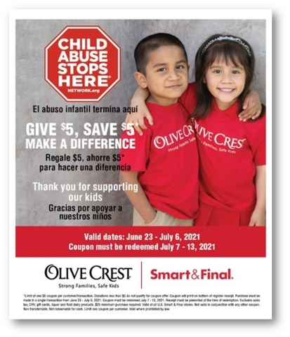 Smart & Final Charitable Foundation Hosts Annual Fundraising Campaign to Support Olive Crest and their Child Abuse Stops Here network. (Graphic: Business Wire)