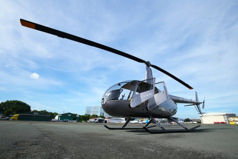 Yugo Private Aviation's charter helicopter Robinson R44 for short distance urban air mobility helicopter transfers (Photo: Business Wire)